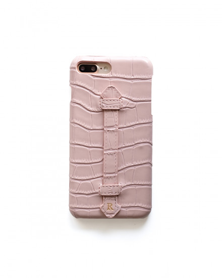 CROCO STRAP LEATHER CASE - PINK