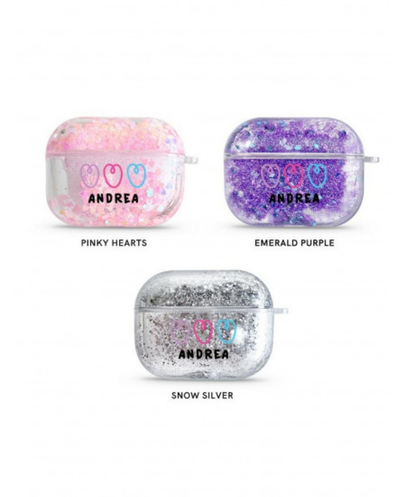 NAME HEARTS - GLITTER AIRPODS CASE