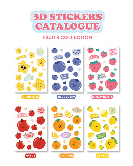 3D Stickers - Fruits Series